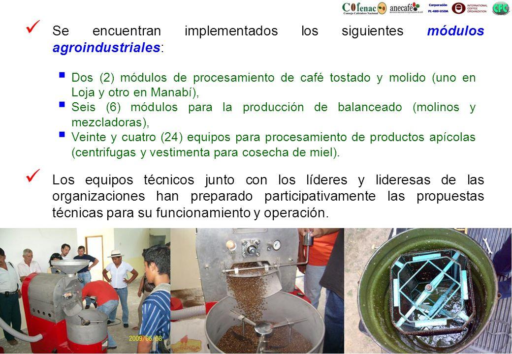 Se encuentran implementados los siguientes módulos agroindustriales: Los equipos técnicos junto con los líderes y lideresas de las organizaciones han