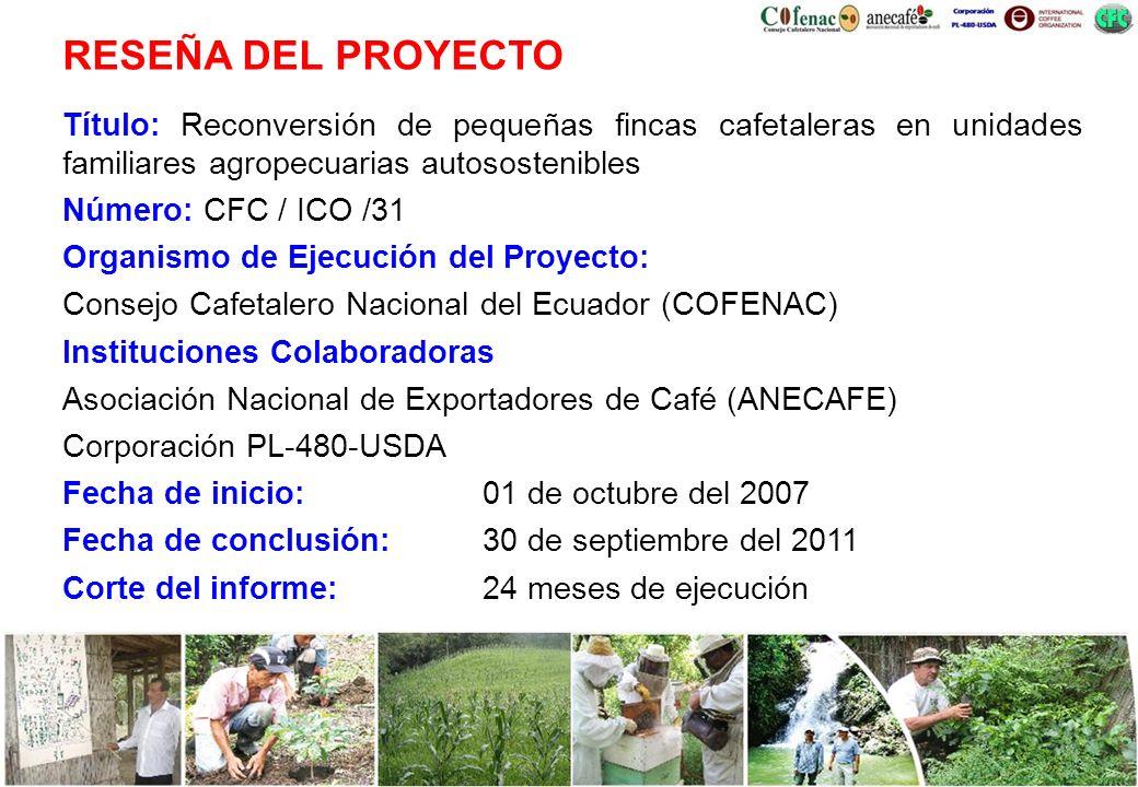 Título: Reconversión de pequeñas fincas cafetaleras en unidades familiares agropecuarias autosostenibles Número: CFC / ICO /31 Organismo de Ejecución