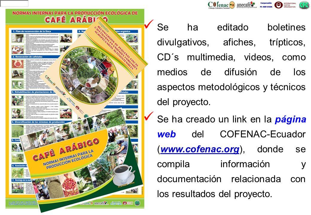 Se ha editado boletines divulgativos, afiches, trípticos, CD´s multimedia, videos, como medios de difusión de los aspectos metodológicos y técnicos de
