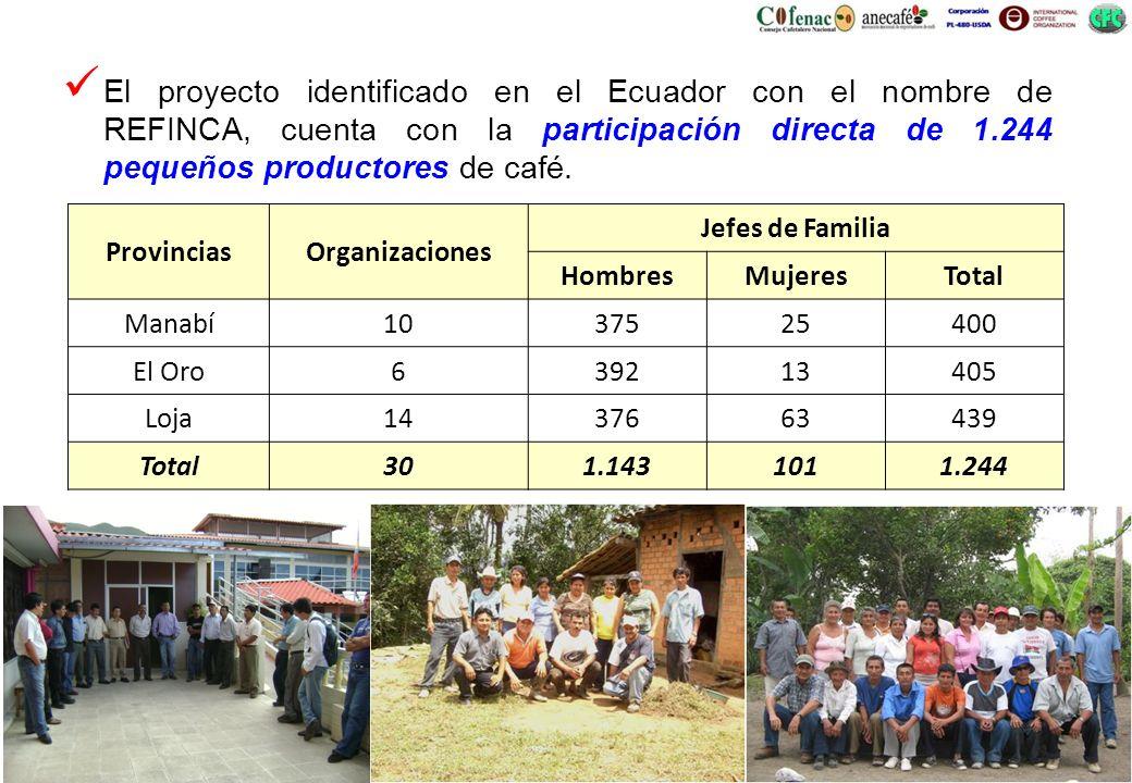 El proyecto identificado en el Ecuador con el nombre de REFINCA, cuenta con la participación directa de 1.244 pequeños productores de café. Provincias