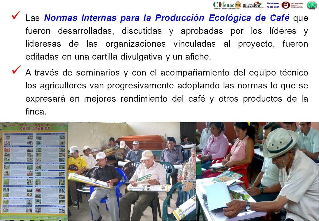 Las Normas Internas para la Producción Ecológica de Café que fueron desarrolladas, discutidas y aprobadas por los líderes y lideresas de las organizac