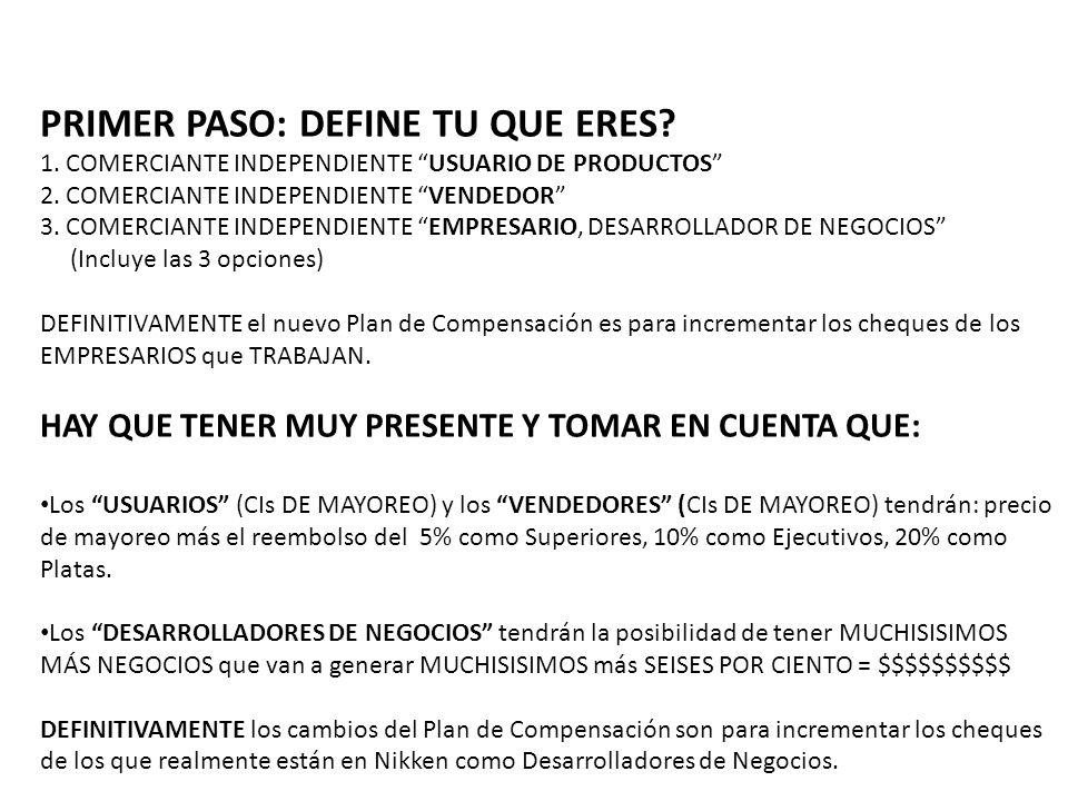 PRIMER PASO: DEFINE TU QUE ERES? 1. COMERCIANTE INDEPENDIENTE USUARIO DE PRODUCTOS 2. COMERCIANTE INDEPENDIENTE VENDEDOR 3. COMERCIANTE INDEPENDIENTE