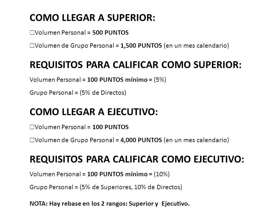 COMO LLEGAR A SUPERIOR: Volumen Personal = 500 PUNTOS Volumen de Grupo Personal = 1,500 PUNTOS (en un mes calendario) REQUISITOS PARA CALIFICAR COMO S