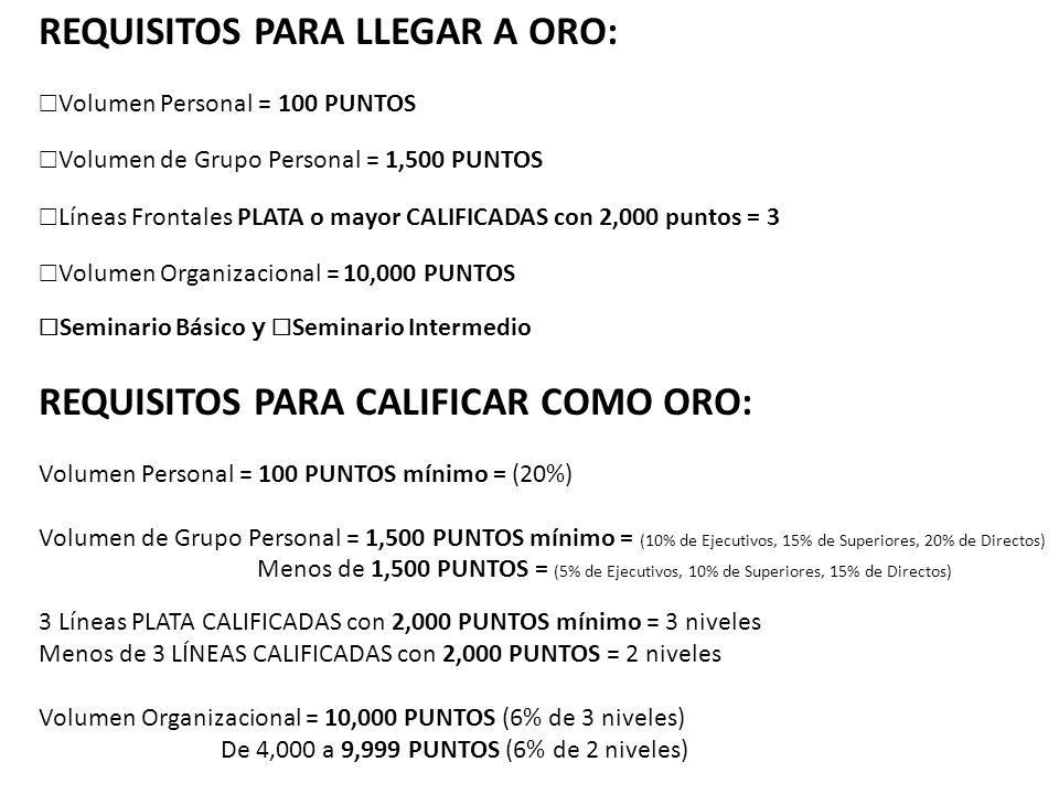 REQUISITOS PARA LLEGAR A ORO: Volumen Personal = 100 PUNTOS Volumen de Grupo Personal = 1,500 PUNTOS Líneas Frontales PLATA o mayor CALIFICADAS con 2,