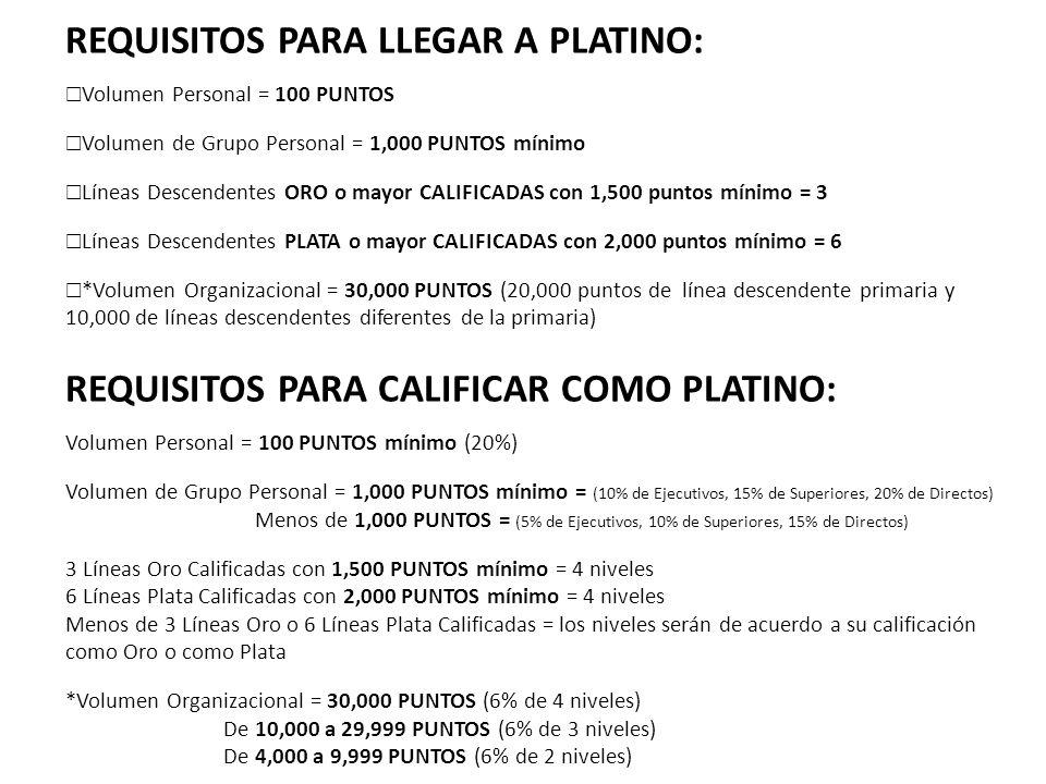 REQUISITOS PARA LLEGAR A PLATINO: Volumen Personal = 100 PUNTOS Volumen de Grupo Personal = 1,000 PUNTOS mínimo Líneas Descendentes ORO o mayor CALIFI