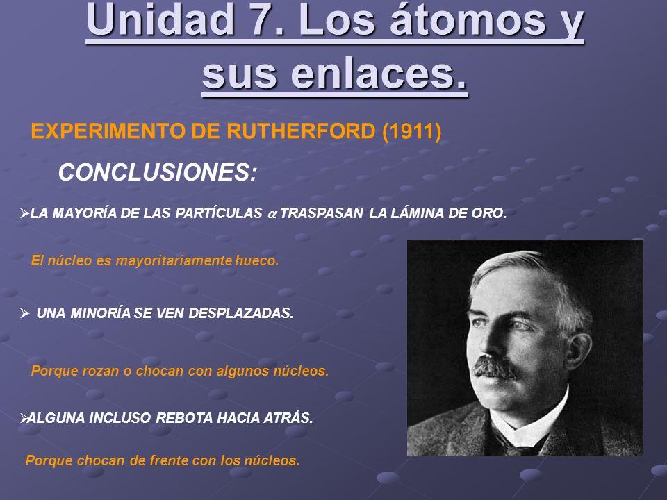 EXPERIMENTO DE RUTHERFORD (1911) CONCLUSIONES: LA MAYORÍA DE LAS PARTÍCULAS TRASPASAN LA LÁMINA DE ORO. UNA MINORÍA SE VEN DESPLAZADAS. ALGUNA INCLUSO
