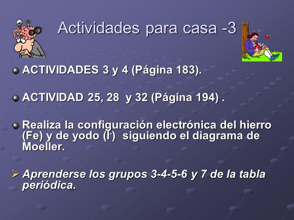 Actividades para casa -3 ACTIVIDADES 3 y 4 (Página 183). ACTIVIDAD 25, 28 y 32 (Página 194). Realiza la configuración electrónica del hierro (Fe) y de
