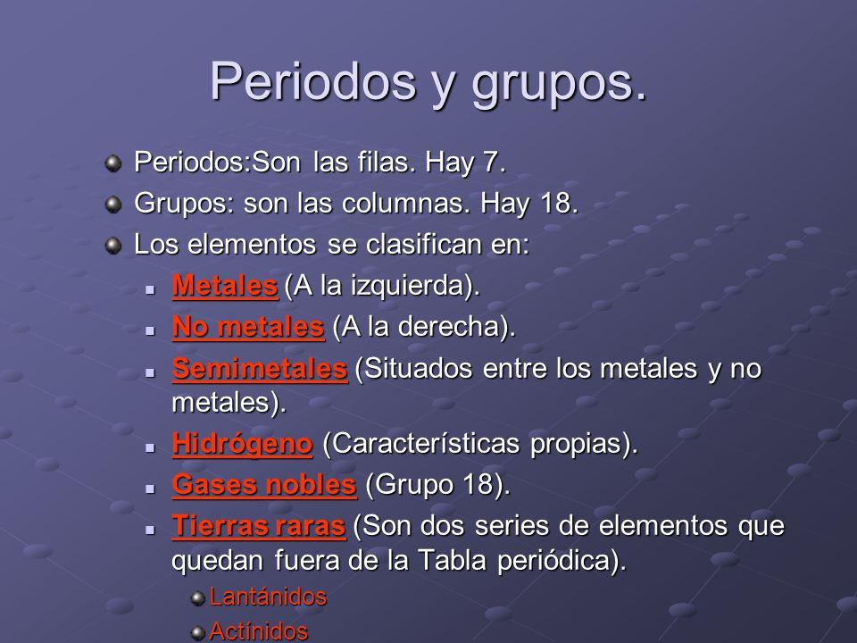Periodos y grupos. Periodos:Son las filas. Hay 7. Grupos: son las columnas. Hay 18. Los elementos se clasifican en: Metales (A la izquierda). Metales