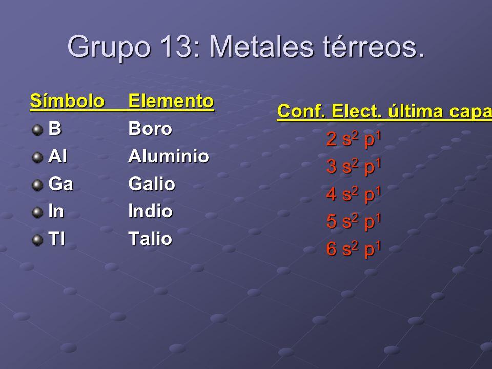 Grupo 13: Metales térreos. SímboloElemento BBoro AlAluminio GaGalio InIndio TlTalio Conf. Elect. última capa 2 s 2 p 1 3 s 2 p 1 4 s 2 p 1 5 s 2 p 1 6