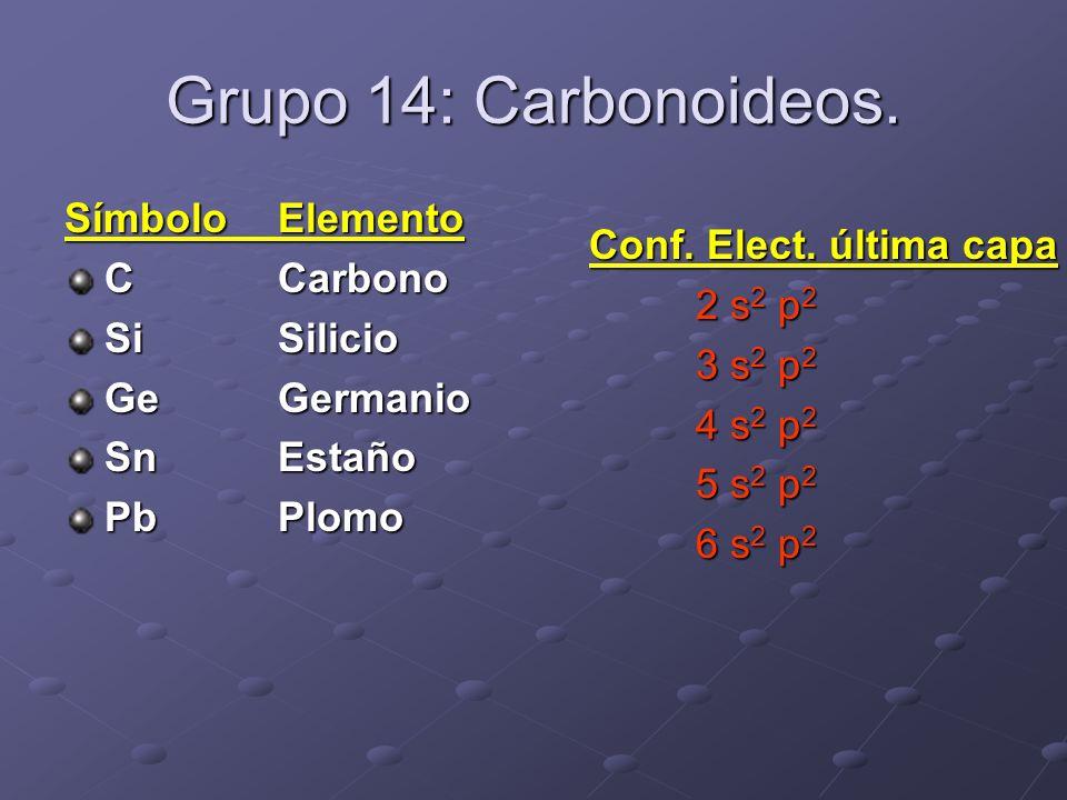 Grupo 14: Carbonoideos. SímboloElemento CCarbono SiSilicio GeGermanio SnEstaño PbPlomo Conf. Elect. última capa 2 s 2 p 2 3 s 2 p 2 4 s 2 p 2 5 s 2 p