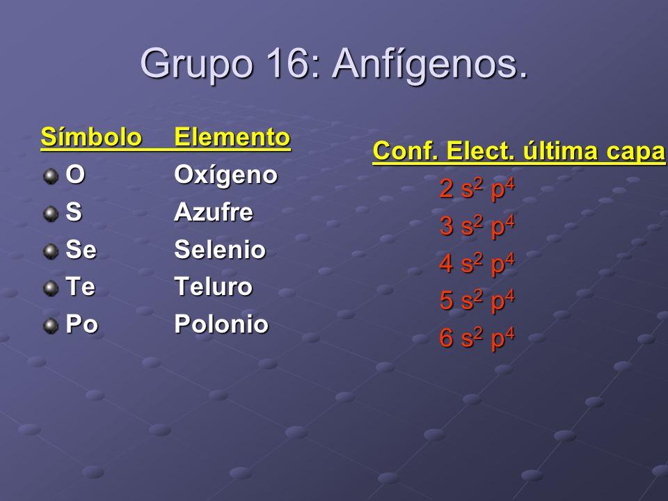 Grupo 16: Anfígenos. SímboloElemento OOxígeno SAzufre SeSelenio TeTeluro PoPolonio Conf. Elect. última capa 2 s 2 p 4 3 s 2 p 4 4 s 2 p 4 5 s 2 p 4 6