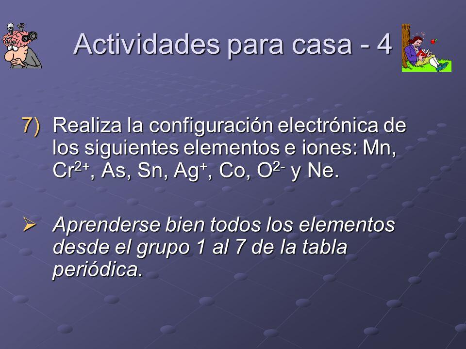 Actividades para casa - 4 7)Realiza la configuración electrónica de los siguientes elementos e iones: Mn, Cr 2+, As, Sn, Ag +, Co, O 2- y Ne. Aprender
