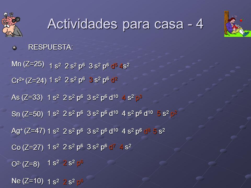 Actividades para casa - 4 RESPUESTA: Mn (Z=25) Cr 2+ (Z=24) As (Z=33) Sn (Z=50) Ag + (Z=47) Co (Z=27) O 2- (Z=8) Ne (Z=10) 1 s 2 2 s 2 p 6 3 s 2 p 6 d