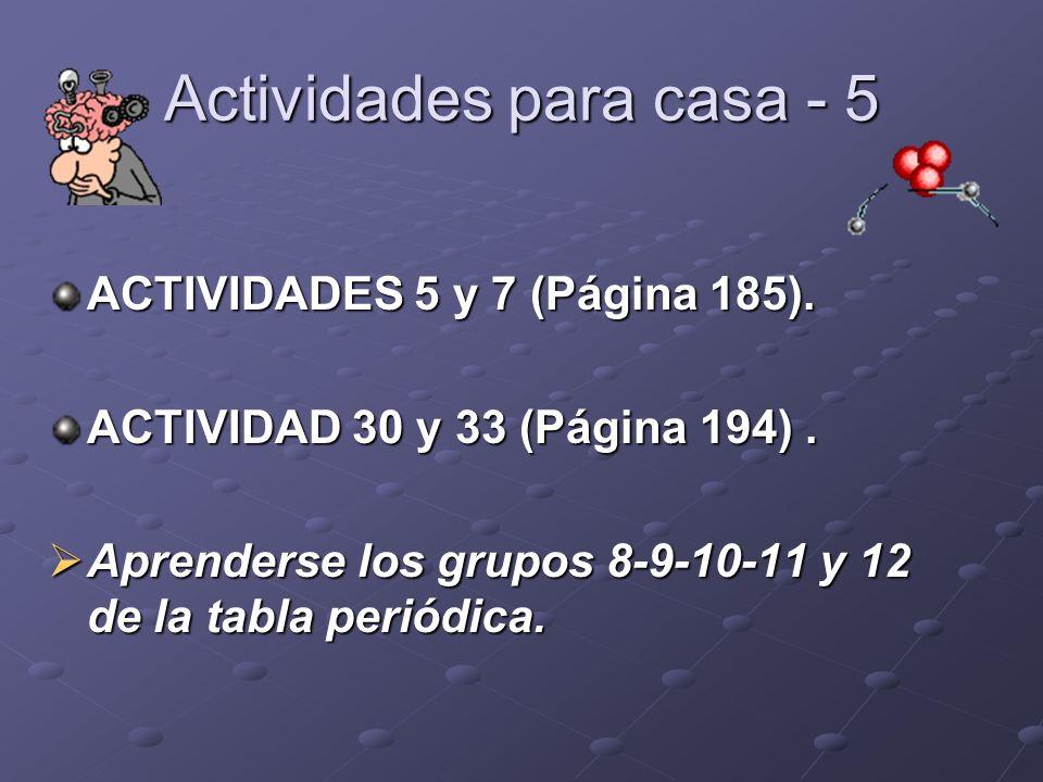 Actividades para casa - 5 ACTIVIDADES 5 y 7 (Página 185). ACTIVIDAD 30 y 33 (Página 194). Aprenderse los grupos 8-9-10-11 y 12 de la tabla periódica.