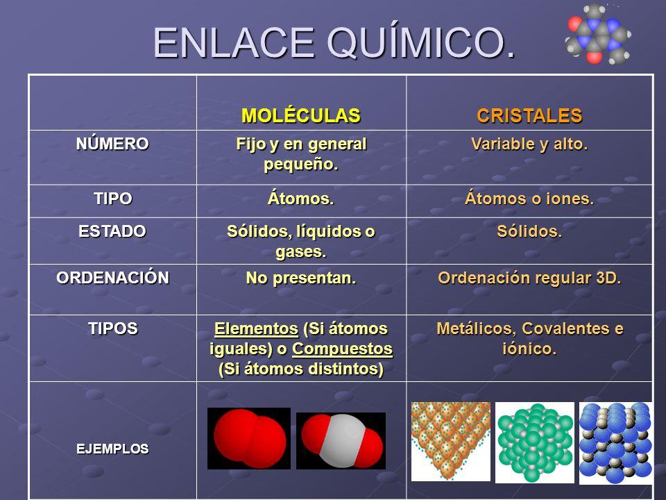 ENLACE QUÍMICO. MOLÉCULASCRISTALESNÚMERO Fijo y en general pequeño. Variable y alto. TIPOÁtomos. Átomos o iones. ESTADO Sólidos, líquidos o gases. Sól