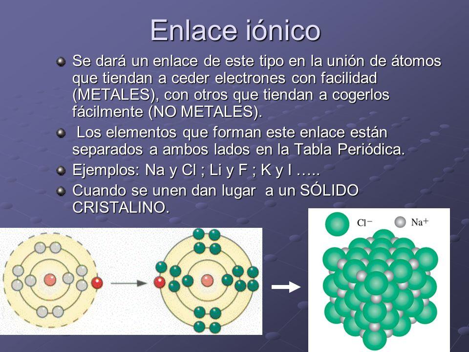 Enlace iónico Se dará un enlace de este tipo en la unión de átomos que tiendan a ceder electrones con facilidad (METALES), con otros que tiendan a cog