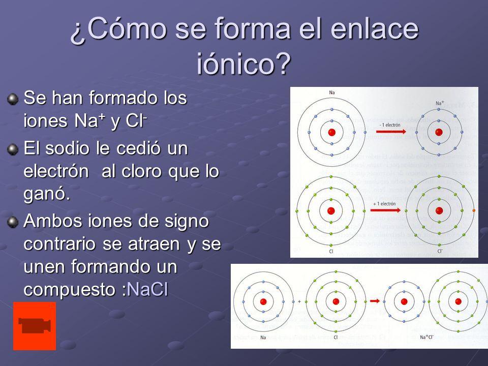 ¿Cómo se forma el enlace iónico? Se han formado los iones Na + y Cl - El sodio le cedió un electrón al cloro que lo ganó. Ambos iones de signo contrar