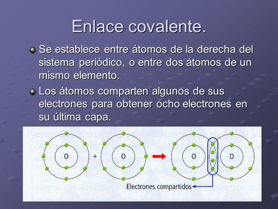 Enlace covalente. Se establece entre átomos de la derecha del sistema periódico, o entre dos átomos de un mismo elemento. Los átomos comparten algunos