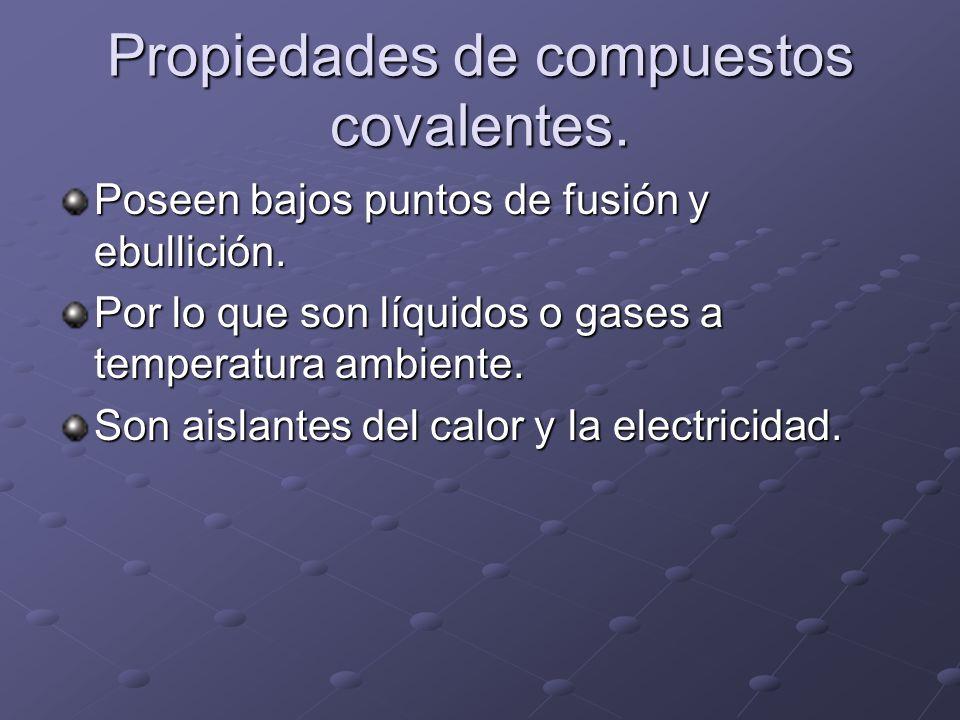 Propiedades de compuestos covalentes. Poseen bajos puntos de fusión y ebullición. Por lo que son líquidos o gases a temperatura ambiente. Son aislante