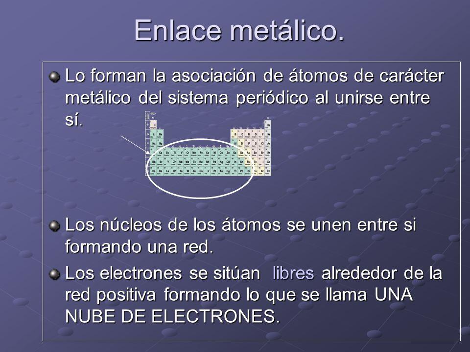 Enlace metálico. Lo forman la asociación de átomos de carácter metálico del sistema periódico al unirse entre sí. Los núcleos de los átomos se unen en