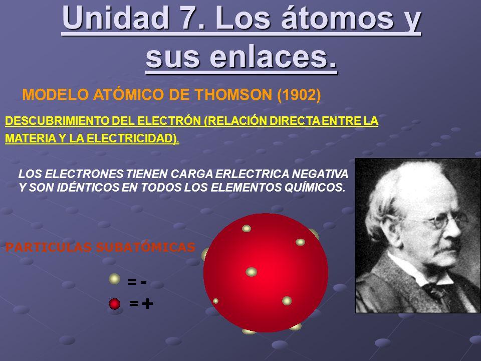 MODELO ATÓMICO DE THOMSON (1902) DESCUBRIMIENTO DEL ELECTRÓN (RELACIÓN DIRECTA ENTRE LA MATERIA Y LA ELECTRICIDAD). LOS ELECTRONES TIENEN CARGA ERLECT