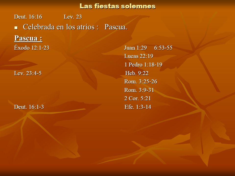 Las fiestas solemnes Deut. 16:16 Lev. 23 Celebrada en los atrios : Pascua. Celebrada en los atrios : Pascua. Pascua : Éxodo 12:1-23 Juan 1:29 6:53-55