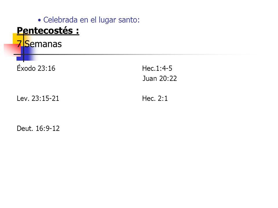 Celebrada en el lugar santo: Pentecostés : 7 Semanas Éxodo 23:16 Hec.1:4-5 Juan 20:22 Lev. 23:15-21 Hec. 2:1 Deut. 16:9-12