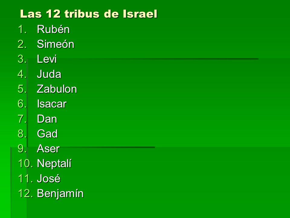 Las 12 tribus de Israel 1.Rubén 2.Simeón 3.Levi 4.Juda 5.Zabulon 6.Isacar 7.Dan 8.Gad 9.Aser 10.Neptalí 11.José 12.Benjamín