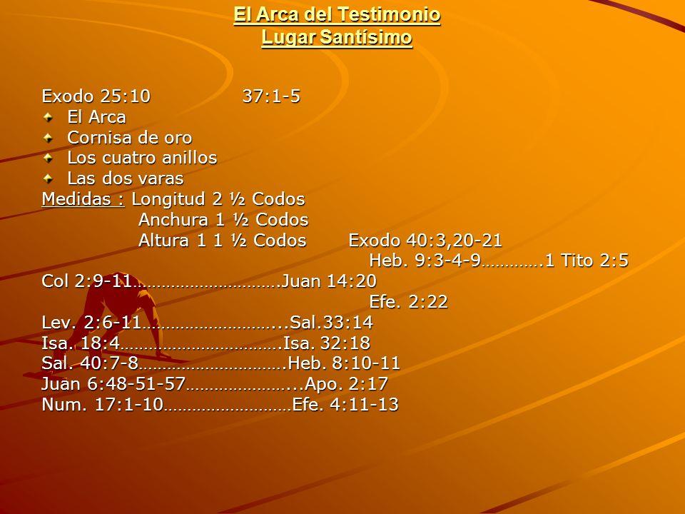 El Arca del Testimonio Lugar Santísimo Exodo 25:10 37:1-5 El Arca Cornisa de oro Los cuatro anillos Las dos varas Medidas : Longitud 2 ½ Codos Anchura