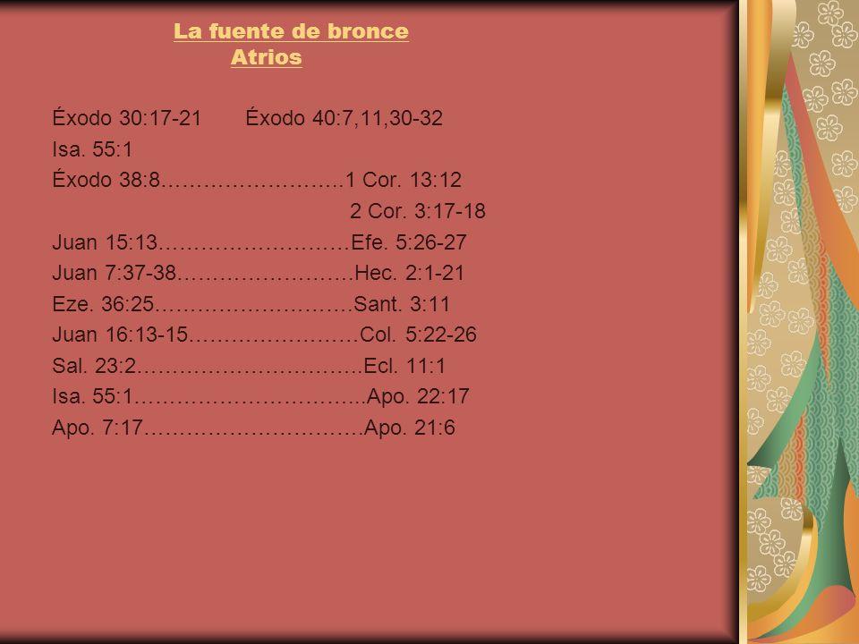 La fuente de bronce Atrios Éxodo 30:17-21 Éxodo 40:7,11,30-32 Isa. 55:1 Éxodo 38:8……………………..1 Cor. 13:12 2 Cor. 3:17-18 Juan 15:13………………………Efe. 5:26-2