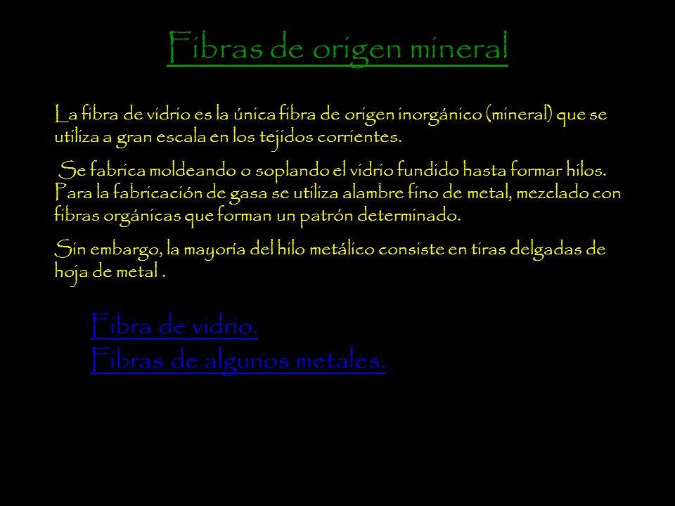 Fibras de origen mineral. Fibras de origen vegetal. Fibras de origen animal.Fibras de origen animal Fibras artificiales. Fibras sintéticas.Fibras sint