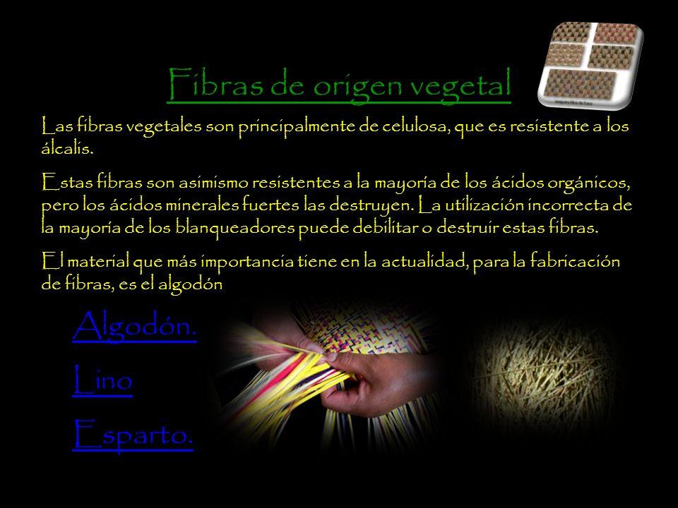 Fibras de origen vegetal Las fibras vegetales son principalmente de celulosa, que es resistente a los álcalis.