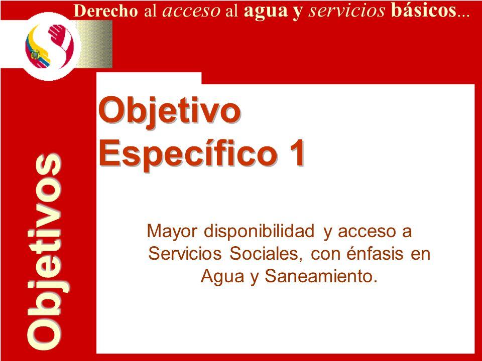 Derecho al acceso al agua y servicios básicos... Objetivo Específico 1 Objetivo Específico 1 Mayor disponibilidad y acceso a Servicios Sociales, con é