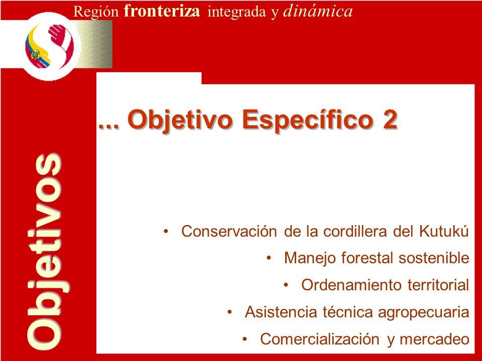 Región fronteriza integrada y dinámica... Objetivo Específico 2 Objetivos Conservación de la cordillera del Kutukú Manejo forestal sostenible Ordenami