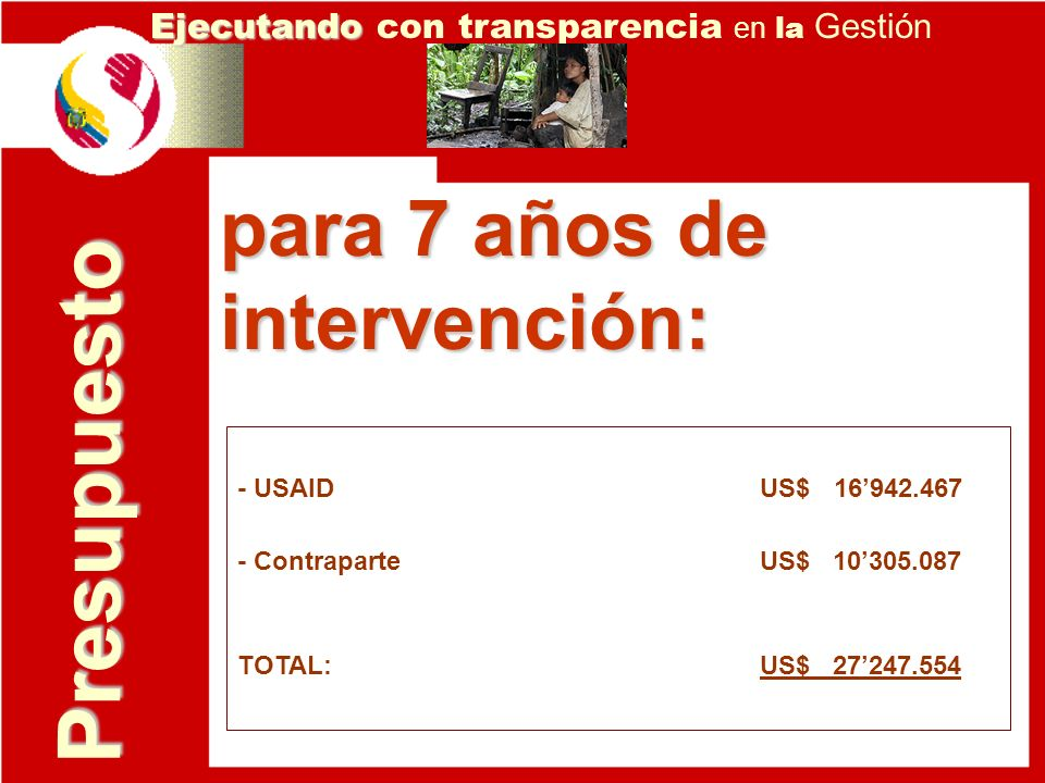 Presupuesto Ejecutando Ejecutando con transparencia en la Gestión - USAID US$ 16942.467 - Contraparte US$ 10305.087 TOTAL: US$ 27247.554 para 7 años d