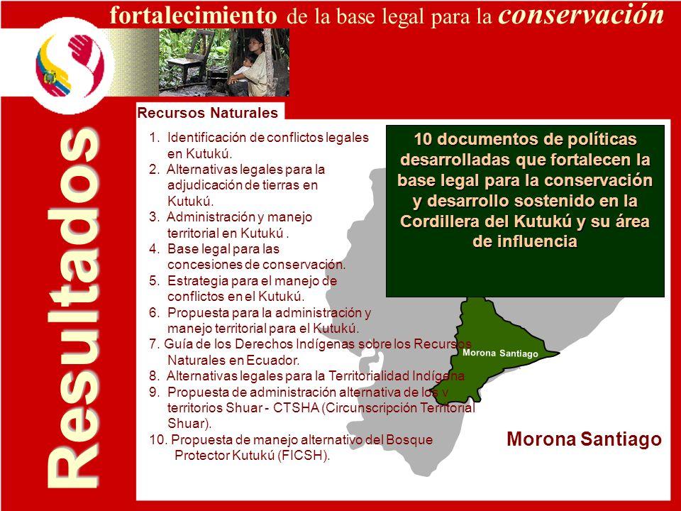 Resultados Morona Santiago Recursos Naturales fortalecimiento de la base legal para la conservación 1. Identificación de conflictos legales en Kutukú.