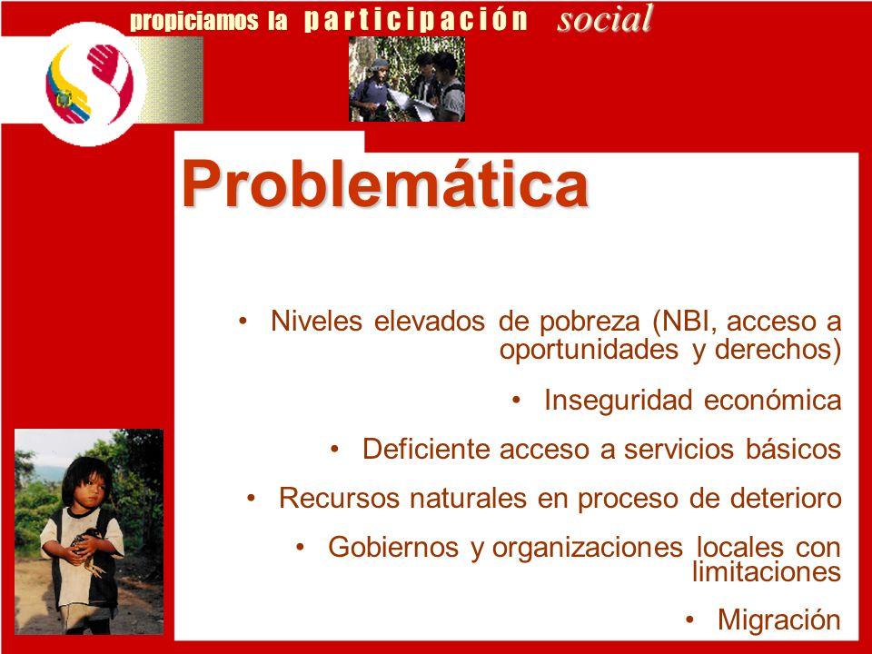 social propiciamos la p a r t i c i p a c i ó n social Niveles elevados de pobreza (NBI, acceso a oportunidades y derechos) Inseguridad económica Defi