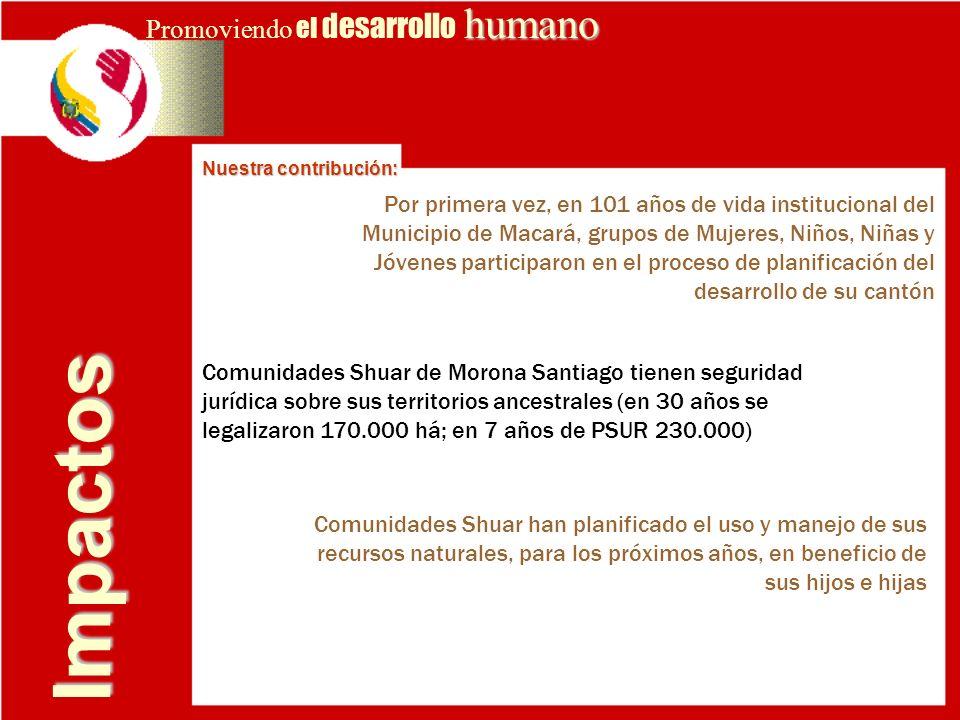 Impactos humano Promoviendo el desarrollo humano Nuestra contribución: Comunidades Shuar de Morona Santiago tienen seguridad jurídica sobre sus territ