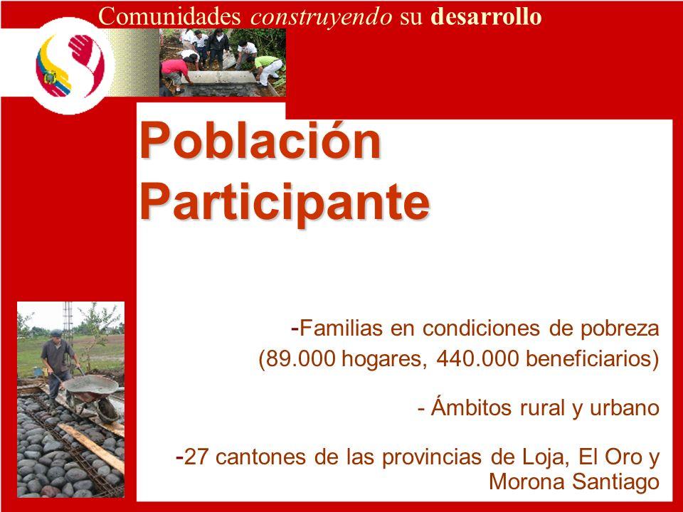 Población Participante Comunidades construyendo su desarrollo - Familias en condiciones de pobreza (89.000 hogares, 440.000 beneficiarios) - Ámbitos r