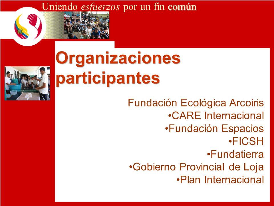 Organizaciones participantes común Uniendo esfuerzos por un fin común Fundación Ecológica Arcoiris CARE Internacional Fundación Espacios FICSH Fundati