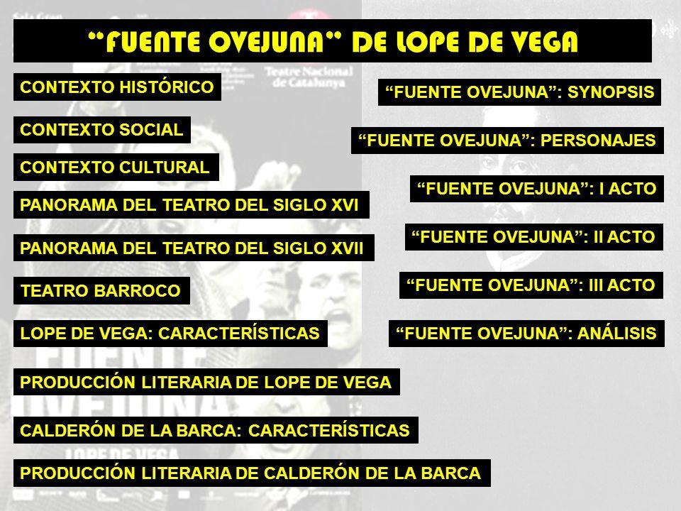 CONTEXTO HISTÓRICO CONTEXTO SOCIAL CONTEXTO CULTURAL FUENTE OVEJUNA DE LOPE DE VEGA PANORAMA DEL TEATRO DEL SIGLO XVI PANORAMA DEL TEATRO DEL SIGLO XVII TEATRO BARROCO LOPE DE VEGA: CARACTERÍSTICAS PRODUCCIÓN LITERARIA DE LOPE DE VEGA CALDERÓN DE LA BARCA: CARACTERÍSTICAS PRODUCCIÓN LITERARIA DE CALDERÓN DE LA BARCA FUENTE OVEJUNA: SYNOPSIS FUENTE OVEJUNA: PERSONAJES FUENTE OVEJUNA: I ACTO FUENTE OVEJUNA: II ACTO FUENTE OVEJUNA: III ACTO FUENTE OVEJUNA: ANÁLISIS