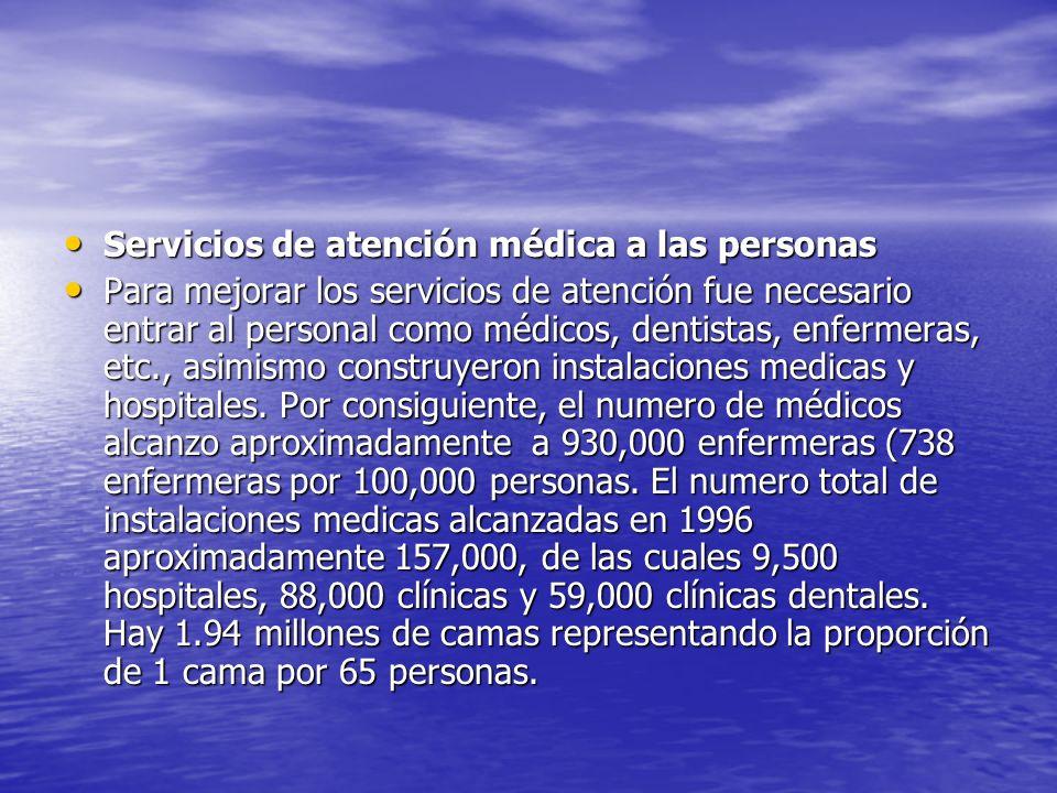 Servicios de atención médica a las personas Servicios de atención médica a las personas Para mejorar los servicios de atención fue necesario entrar al