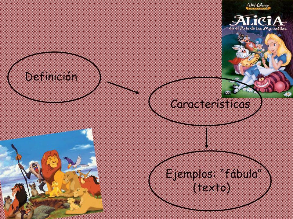 Definición Ejemplos: fábula (texto) Características