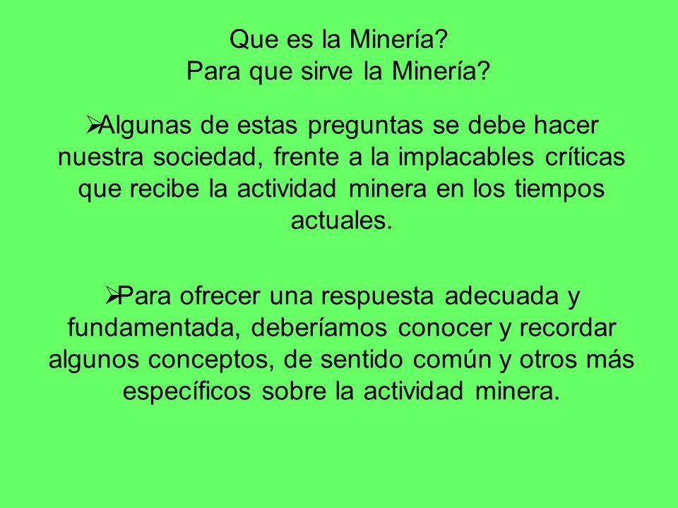 Que es la Minería? Para que sirve la Minería? Algunas de estas preguntas se debe hacer nuestra sociedad, frente a la implacables críticas que recibe l