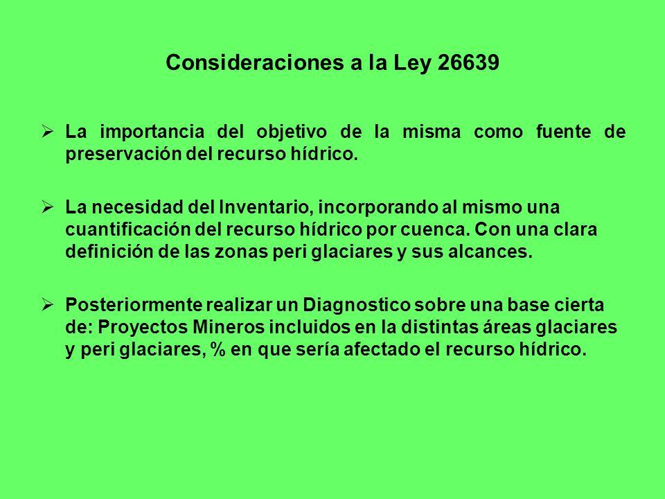 Consideraciones a la Ley 26639 La importancia del objetivo de la misma como fuente de preservación del recurso hídrico. La necesidad del Inventario, i