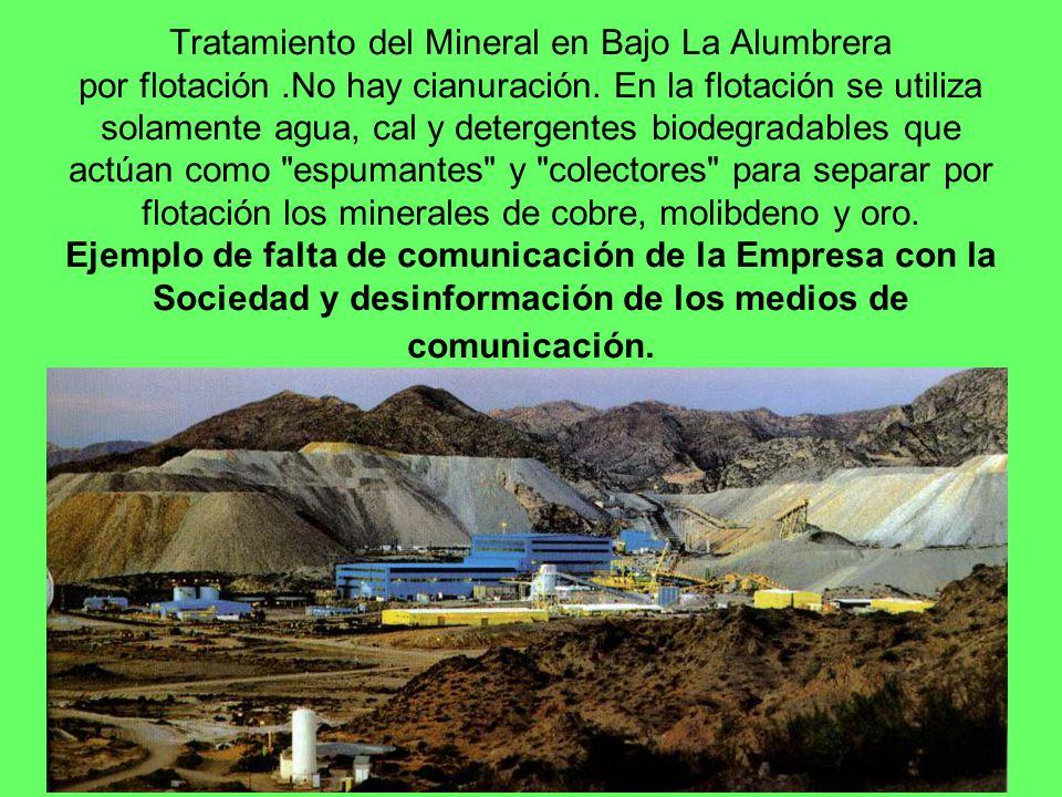 Tratamiento del Mineral en Bajo La Alumbrera por flotación.No hay cianuración. En la flotación se utiliza solamente agua, cal y detergentes biodegrada