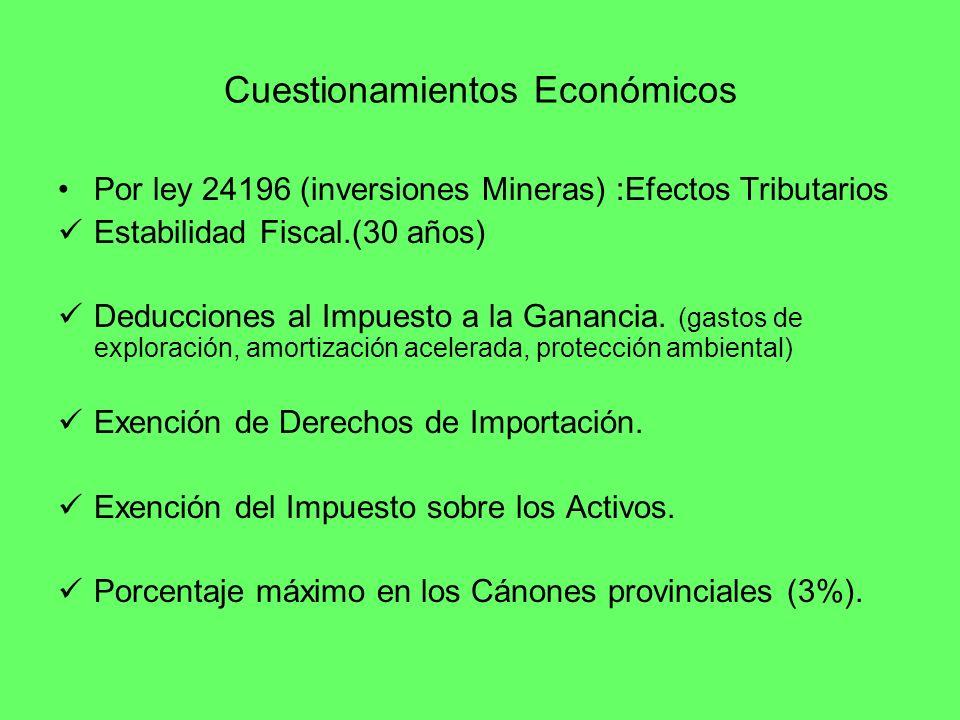 Cuestionamientos Económicos Por ley 24196 (inversiones Mineras) :Efectos Tributarios Estabilidad Fiscal.(30 años) Deducciones al Impuesto a la Gananci