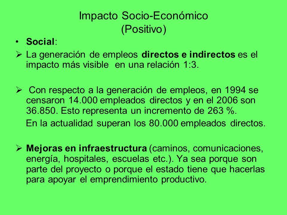 Impacto Socio-Económico (Positivo) Social: La generación de empleos directos e indirectos es el impacto más visible en una relación 1:3. Con respecto