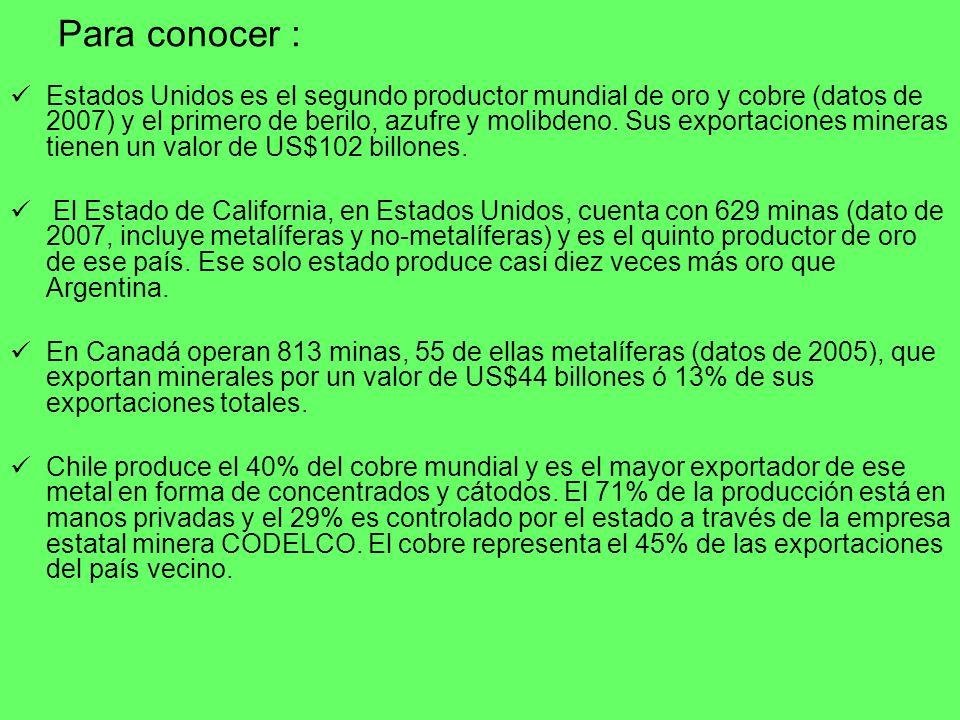 Para conocer : Estados Unidos es el segundo productor mundial de oro y cobre (datos de 2007) y el primero de berilo, azufre y molibdeno. Sus exportaci