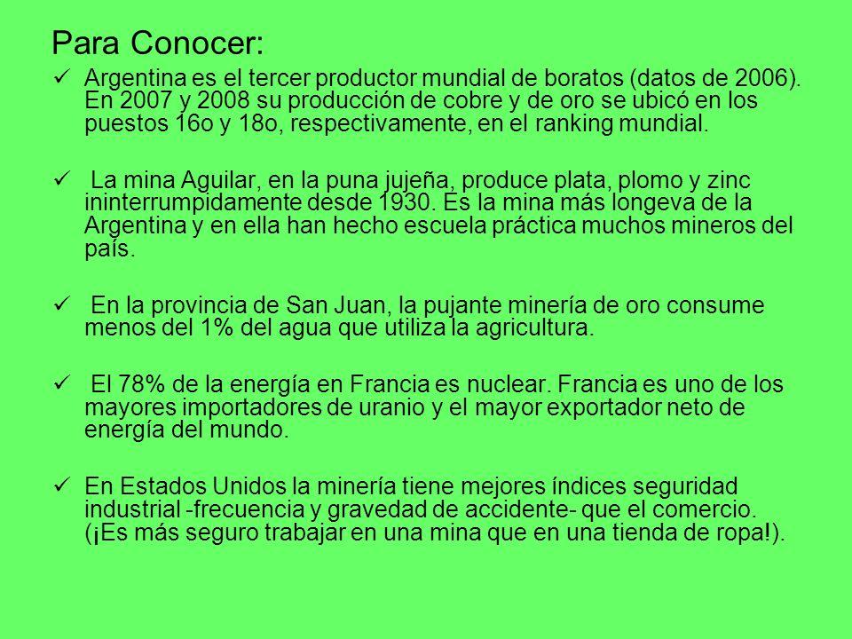 Argentina es el tercer productor mundial de boratos (datos de 2006). En 2007 y 2008 su producción de cobre y de oro se ubicó en los puestos 16o y 18o,